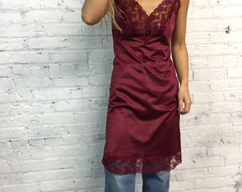 vintage burgundy lace slip / red wine babydoll lingerie dress / sexy v neck chemise