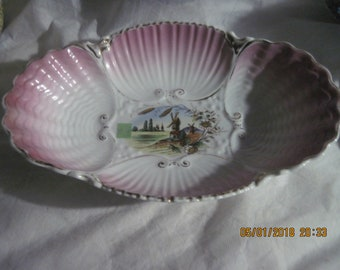 Vintage Pink & White Scenic Porcelain Serving Bowl w/ Scalloped Edges