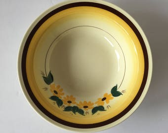 Brown Eyed Susan 9 Inch Round Vegetable Serving Bowl 1940's 1950's Dinnerware Replacement Vernonware Vernon Kilns Montecito