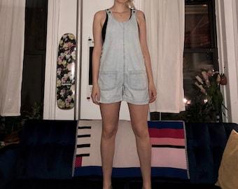 Light blue overall shorts