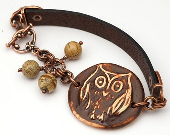 Brown owl bracelet, leather, copper, ceramic, earthtones, picture jasper beads, 7 1/4 inches long
