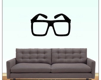 Hipster Glasses Vinyl Wall Decal, Nerd Sticker, Gamer Decor, Geek Glasses, Fashion Beauty Sticker, Reading Glasses Decal S-136