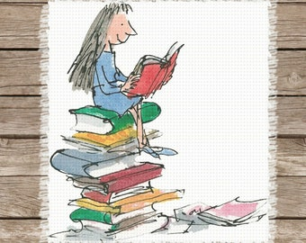 Matilda by Roald Dahl | Inspired Image Chart for Cross-Stitch, Graphgans, Latch Hook, Crochet, Knitting
