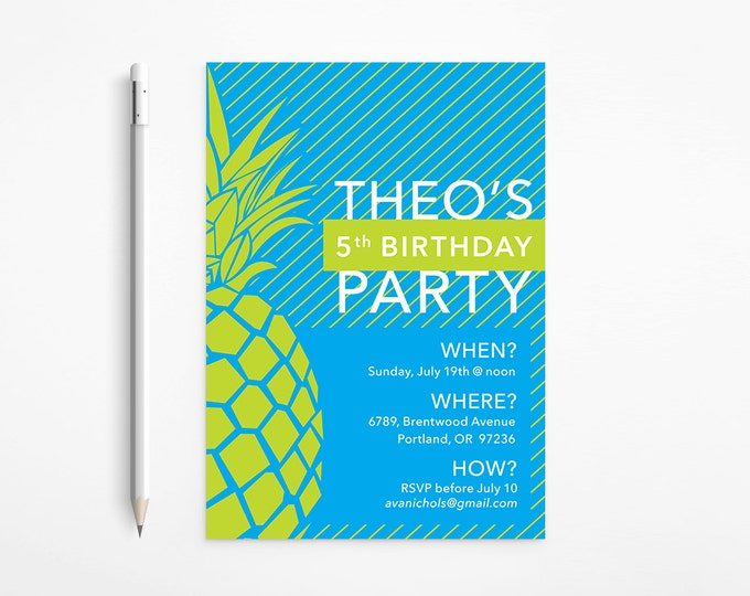 PRINTABLE - Green & Blue Pineapple Birthday Invitation - Modern - Stripes - Yellow - Turquoise - Aqua - Patterned - Free changes