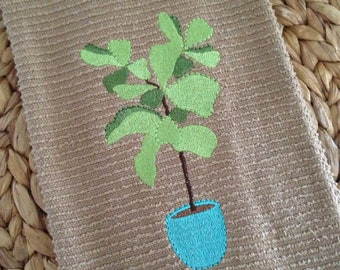 Fiddle Leaf Fig - RIBBED - Kay Dee - Cotton 16x28 Kitchen Hand Towel