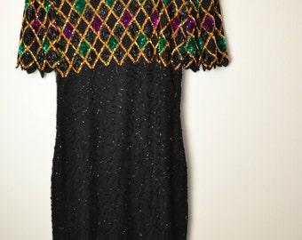 Vintage 80's sequin embellished dress gold purple green