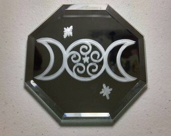 Triple moon, Goddess symbol, Star, Altar tile