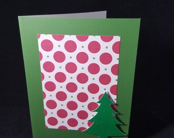 Christmas Tree Holiday Card Polka Dot Card Green Christmas