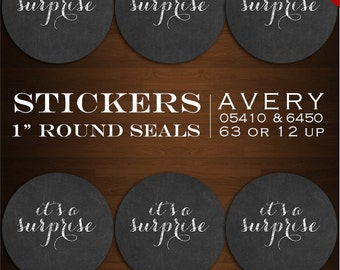 Instant Download - Chalkboard Sticker Envelope Seals  - It's A Surprise! baby shower Design Stickers Bottlecaps Avery 05410 & 6450 Stickers
