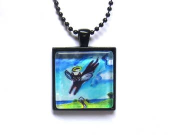 Black Cat Angel Flys Free painting Art Glass Tile Pendant Necklace