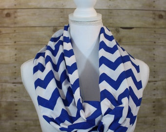 Blue and White Chevron Infinity Scarf, Holiday Gift, Fall Fashion, Gift for Her, Hostess Gift, Women's Gift