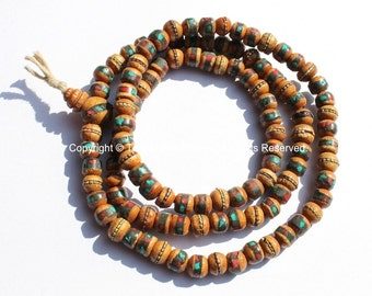108 beads - Tibetan Prayer Beads - 8mm Wooden Mala Prayer Beads with Turquoise, Coral, Brass & Copper Inlays - PB15S