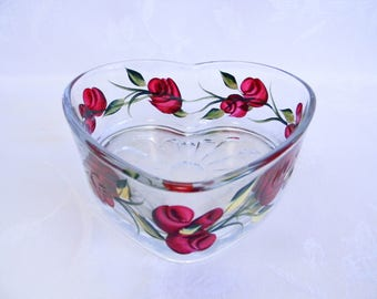 Candy dish, heart shaped dish, Valentine heart dish, red rose dish, red roses, serving dish, home decor