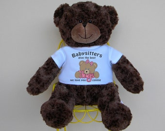 """Babysitter - Personalized Babysitters Give The Best Hugs 16"""" Teddy Bear makes an ideal gift for babysitters, caregivers and nannys"""
