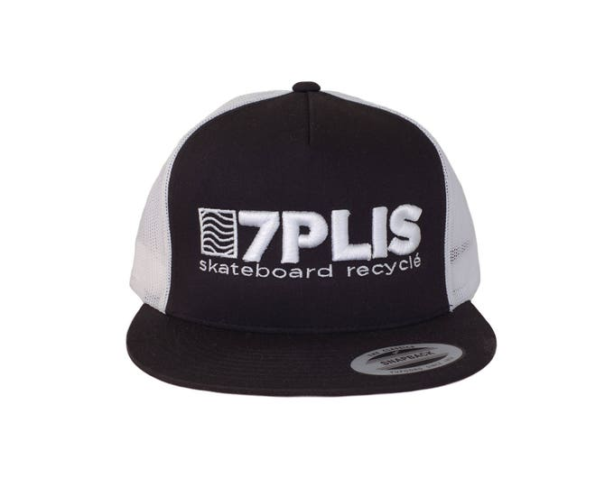 Black and white embroidered 7PLIS trucker cap