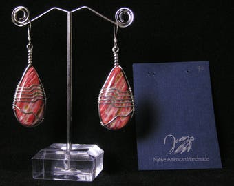 Large Brown Spiney Oyster Earrings | Native American