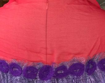 Silk chiffon and Merlino wool Nuno felted wrap