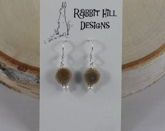 Petoskey Stone with Pearl Earrings