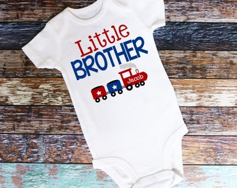 Personalized Little Brother Choo Choo Train Bodysuit or Shirt - Personalized with ANY Name!