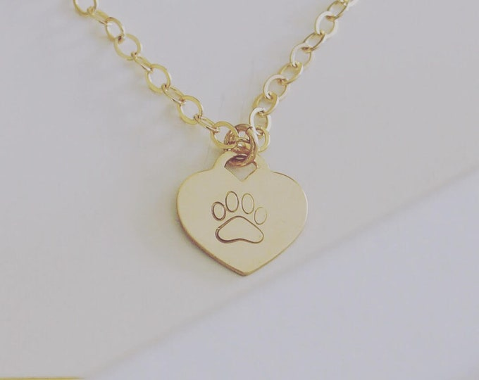 Featured listing image: Pet remembrance necklace, pet memorial necklace, paw print necklace, dog jewelry personalized, paw heart pendant, pet necklace