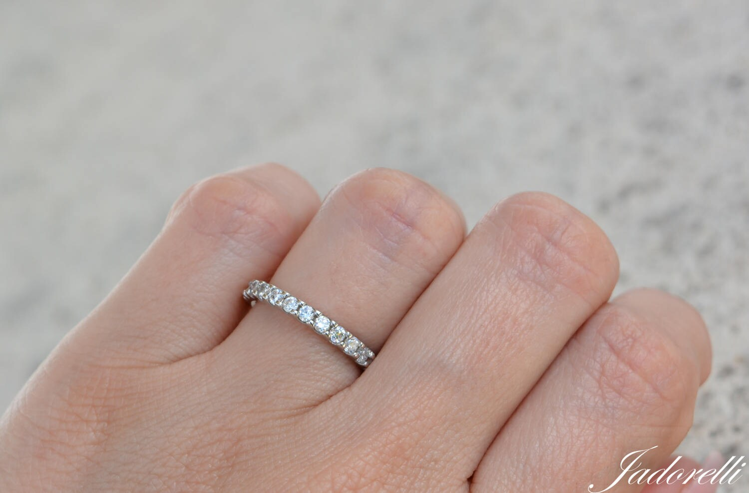 Sterling Silver 2mm High Quality Cz Full Eternity Ring.