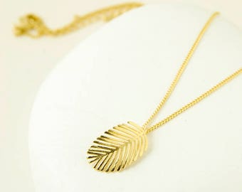 Gold Palm Leaf Necklace Tropical Leaf Necklace Dainty Gold Necklace Boho Leaf Necklace Minimalist Jewelry Nature Lover Jewelry Gift For Her