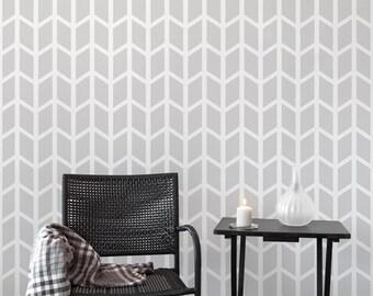 Chevron Wide wall stencil - Geometric Large Scandinavian wall stencils for walls - Reusable - Wallpaper look - Easy home decor