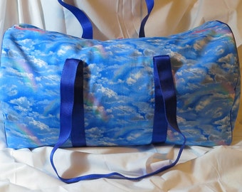 clouds and rainbows print duffel bag sky sports bag limited edition