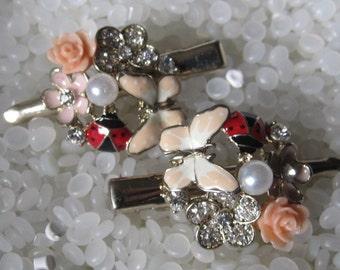 vintage barrette, enamel flower, butterfly, ladybug,