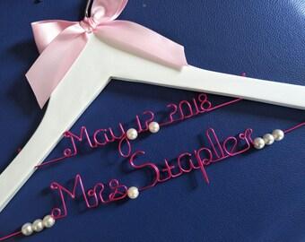 Sale,Bridal Hanger,Personalized Wedding Hanger with Date,personalized rustic wedding dress hanger,name hanger,bride hanger for wedding dress