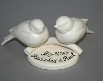 Personalized Bird Couple Wedding Cake Topper in satin white. For Wedding, Anniversary, bride