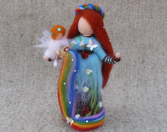 Fairy doll with a rainbow angel, Waldorf doll felt, Needle felted doll, Felted wool fairy, Standing doll, Gift for mom
