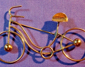 Vintage Bicycle Jewelry Brooch Pin Copper Unsigned Beauty Hand Made 00250