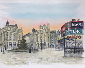 Piccadilly Circus - London, Original Painting by Roisin O'Shea