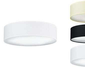 Ceiling Lamp TRES with Cotton lamp shade: White, Black or Ecru in two sizes
