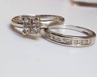 18ct White Gold Princess Cut Diamond Bridal Engagement Ring and Diamond Channel Set Wedding Band Set Total .50 Carat Weight