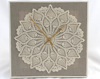 Crochet Clock made from Hand Crocheted Cotton Doily with Natural Linen Surround and a White Wooden Frame, Quartz Movement with Brass Hands.