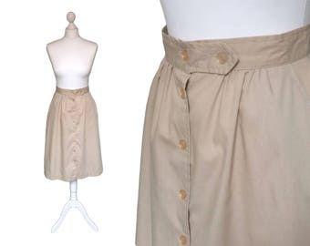 Flared Button Down 70's Midi Skirt | 1970's Skirt | Workers Union Label Made In USA