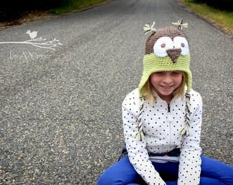 Green Owl Hat, Owl Costume, Halloween Costume, Unisex Hat, Baby Gift, Baby Shower, Hats for Kids, Crochet Hat, Knitted Hat, Crochet Owl