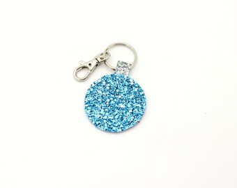 Pink Baby Light Blue and Silver Glitter Fabric Round Circle Key Ring Key Chain Clutch Hand Bag Charm Birthday Gift Idea
