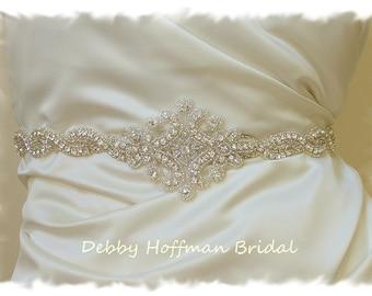 Rhinestone Crystal Bridal Belt, 27 inch Silver Beaded Wedding Dress Sash, Bridal Sash, Jeweled Wedding Sash, Prom Sash, No. 1126S1161-27