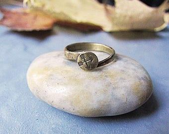 Brass Arrow Ring Textured Minimalist Ring Earthy Rustic Boho Ring Artisan Hammered Metalwork Simple Ring Wife Christmas Gift Boho Wedding