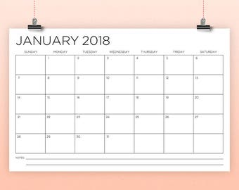 11 x 17 Inch 2018 Calendar Template | INSTANT DOWNLOAD | Thin Sans Serif Type Monthly Printable Minimal Desk or Wall Calender | Print Ready