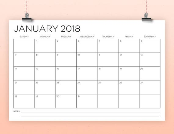 11 X 17 Inch 2018 Calendar Template Instant Download Thin