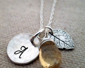Personalized Necklace - Initial Necklace - Fall Wedding Jewelry - Bridesmaid Necklace -