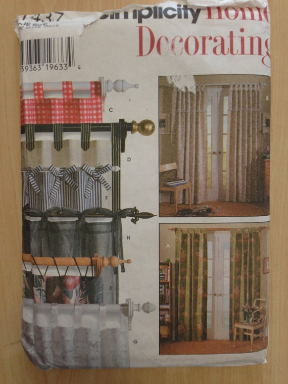 Simplicity 90s Pattern 7437 Uncut Tab Curtains in Eight Styles