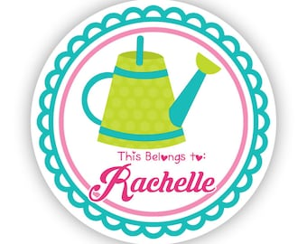 Name Label Stickers - Turquoise Pink Garden Sticker, Water Can Garden Personalized Name Tag Sticker - Back to School, This Belongs To Labels