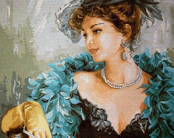 "Gobelin Tapestry Needlepoint Kit ""Parisienne""  printed canvas 501"