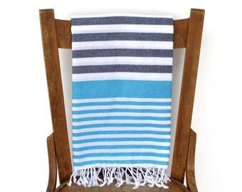 PESHTEMAL Cotton Beach Towel Turkish Towel Turkish Bath Towel Fouta Towel Sarong Pareo Throw Blanket Blue Turquoise Handwoven SEA and SKY