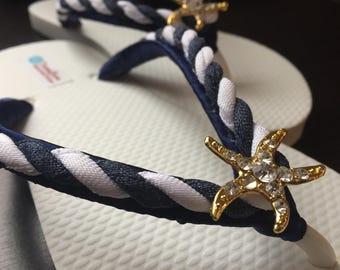 Astrid Nautical Bridal Flip Flops, Starfish Navy Custom Flip Flops, Dancing Shoes, Bridal Sandals, Wedding Flip Flops, Beach Wedding Shoes